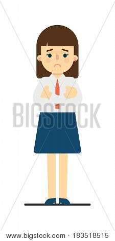 Distressed young woman with hands crossed gesture isolated on white background vector illustration. Beautiful pretty school girl in blouse and skirt in flat design.