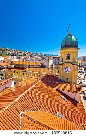 City Of Rijeka Clock Tower And Central Square Vertical View