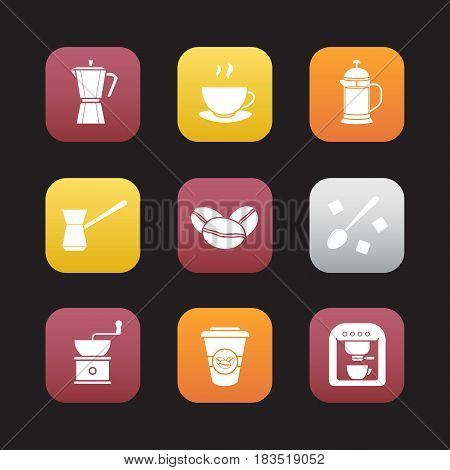 Coffee flat design icons set. Espresso machine, classic coffee maker, steaming mug on plate, french press, turkish cezve, spoon with sugar, hand mill. Web application interface. Vector illustrations