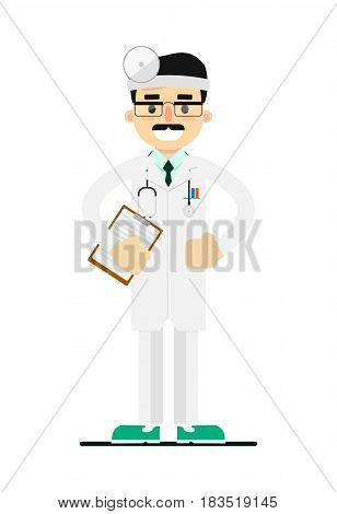 Friendly young doctor in medical uniform vector illustration isolated on white background. Hospital staff character icon in flat design.