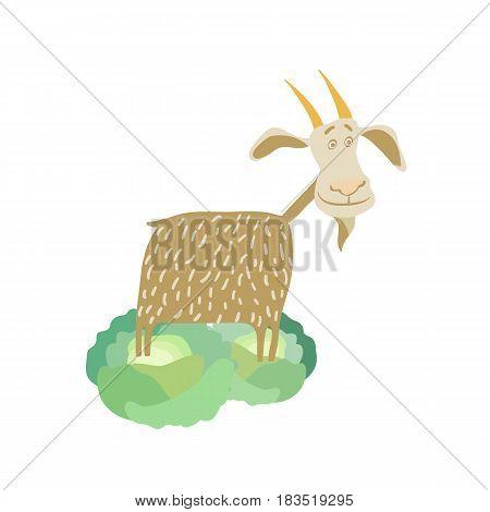 Farm pet goat hand drawn vector illustration isolated on white background. Cute cattle farm animal, domestic livestock in cartoon style.