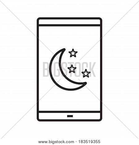 Smartphone night mode linear icon. Thin line illustration. Smart phone with moon and stars contour symbol. Vector isolated outline drawing