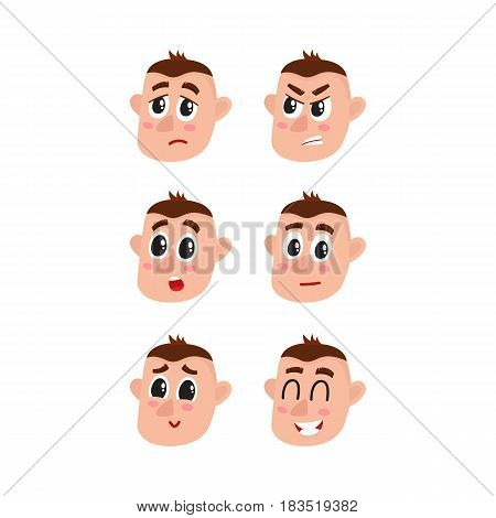 Set, collection of face expressions - upset, angry, surprised, doubtful, shy and happy, cartoon vector illustration on white background. Funny cartoon Caucasian male face showing various emotions