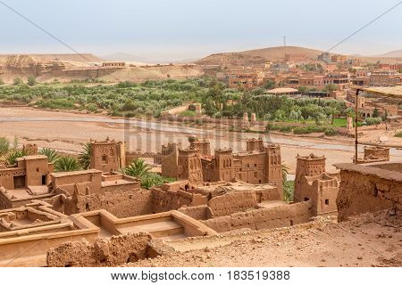 View from Kasbah Ait Benhaddou to valley with Ksars in Morocco