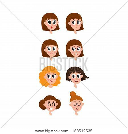 Set, collection of woman, girl face expressions, heads, avatars, cartoon vector illustration on white background. Funny cartoon female heads with various hairstyles and emotions, set of avatars