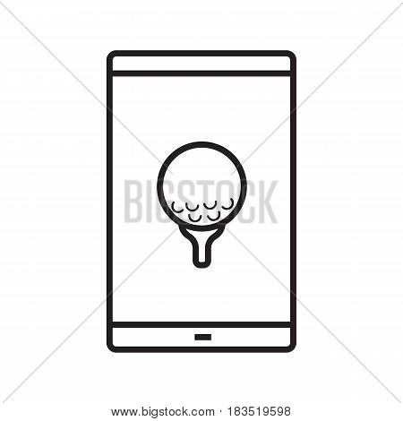 Smartphone golf game app linear icon. Thin line illustration. Smart phone with golf ball on tee contour symbol. Vector isolated outline drawing