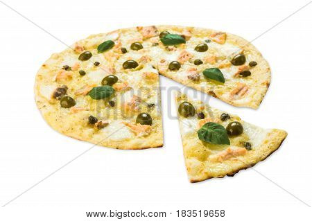Italian seafood pizza with salmon, capers and olives - thin pastry crust isolated at white background, one slice cut off, closeup