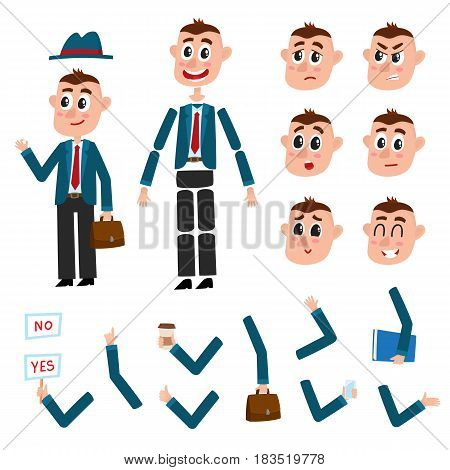 Man character creation set with different gestures and emotions, cartoon vector illustration on white background. Funny man, businessman creation set, constructor, moving arms, legs, changeable face