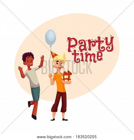 Two boys at birthday party, black dancing, Caucasian holding gift and balloon, , cartoon style invitation, banner, poster, greeting card design. Party invitation, advertisement,