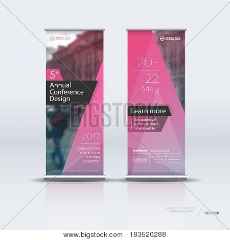 Design of rose vertical banner. It can be used for roll up street banners, posters, signs, flags, brochures and leaflets. vector illustration.