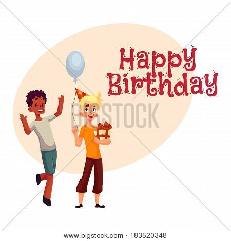 Happy birthday vector greeting card, poster, banner design with Two boys at birthday party, black dancing, Caucasian holding gift and balloon. Two boys, kids at birthday party, holding balloons