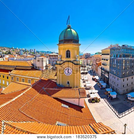 City Of Rijeka Clock Tower And Central Square Panorama