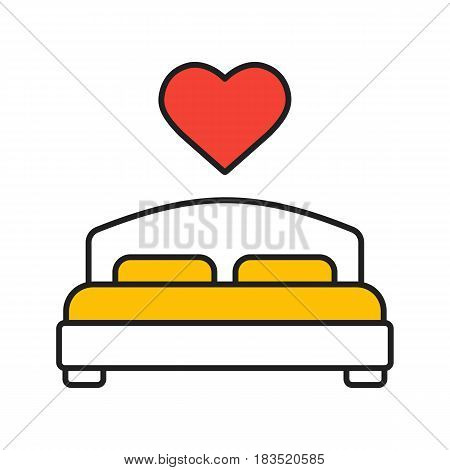 Lovers bed color icon. Double bed with heart shape above. Isolated vector illustration