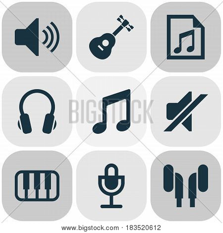 Multimedia Icons Set. Collection Of Sound, Earmuff, Earphone And Other Elements. Also Includes Symbols Such As Speaker, Silent, Instrument.