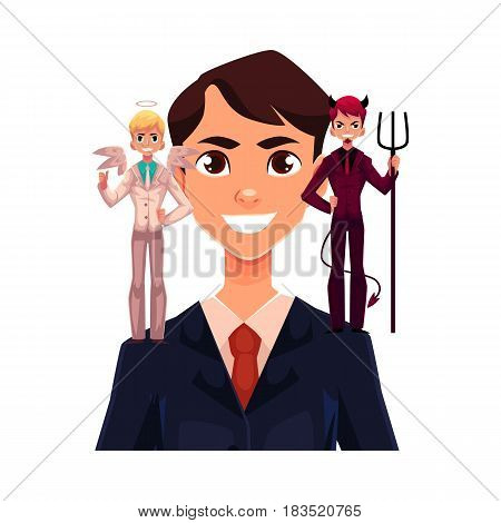 Business man with angel and devil on his shoulders, decision making concept, cartoon vector illustration isolated on white background. Man trying to make decision, choice listening to angel and demon
