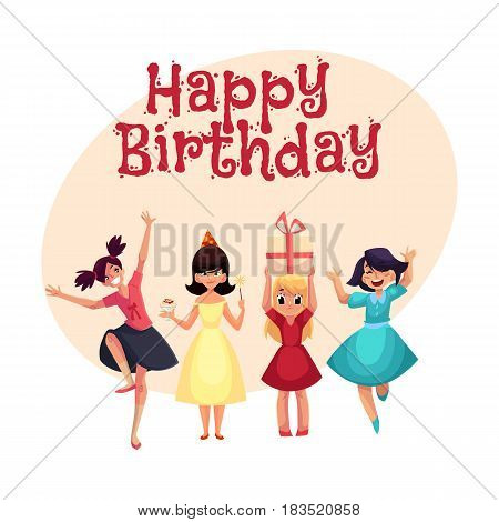 Happy birthday vector greeting card, poster, banner design with Four various girls in colorful dresses having fun at birthday party. Set of girls, kids, children celebrating birthday, having fun,