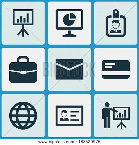 Job Icons Set. Collection Of Presenting Man, Payment, Suitcase And Other Elements. Also Includes Symbols Such As Chart, Handbag, Id.