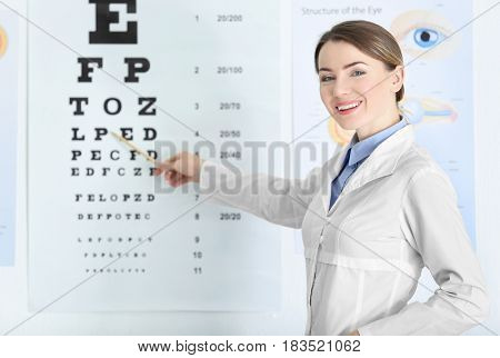 Female ophthalmologist pointing at letters of eye chart