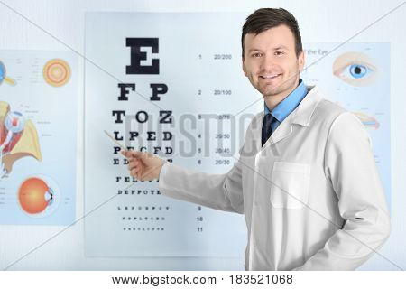 Male ophthalmologist pointing at letters of eye chart