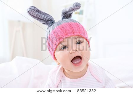 Cute little baby at home