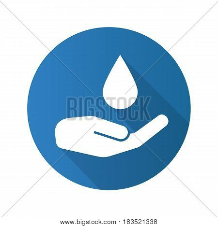 Washing hands flat design long shadow icon. Human palm with falling water drop. Vector silhouette symbol