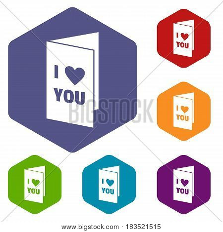 Happy Valentines day or weeding card icons set hexagon isolated vector illustration