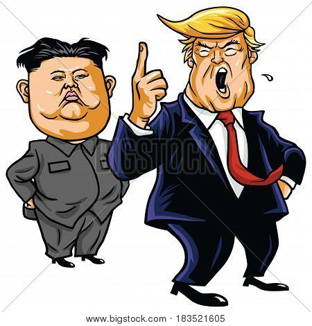 Donald Trump with Kim Jong-un Cartoon Vector. April 26, 2017