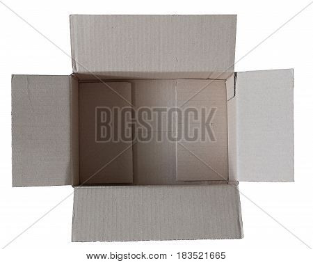 Open brown carton box isolated on white background. This has clipping path.
