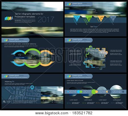 Elements for Presentation templates on a dark background. Use in presentation, flyer and leaflet, corporate report, marketing, advertising, annual report, banner