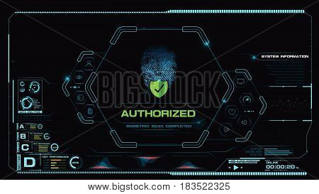 Futuristic HUD Cyber technology concept with finger print scan biometric data complete abstract background vector illustration