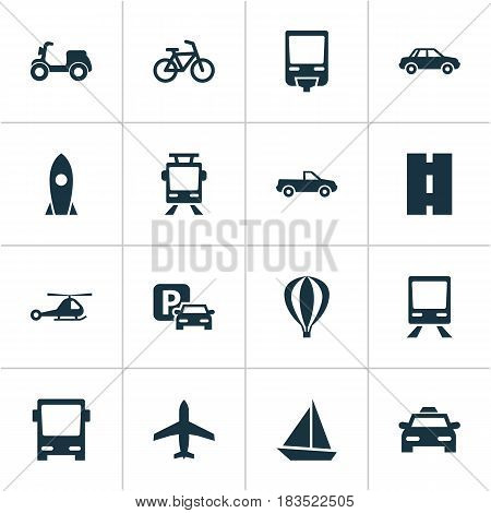 Transportation Icons Set. Collection Of Way, Road Sign, Bicycle And Other Elements. Also Includes Symbols Such As Cabriolet, Chopper, Bicycle.