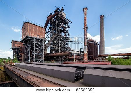 Abandoned buildings of old Thyssen blast furnace plant at Duisburg Germany. Now Road of Industrial Heritage