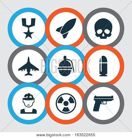 Battle Icons Set. Collection Of Cranium, Slug, Aircraft And Other Elements. Also Includes Symbols Such As Gun, Head, Missile.