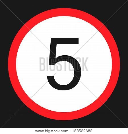 Maximum Speed Limit 5 Flat Icon, Traffic And Road Sign, Vector Graphics, A Solid Pattern On A Black
