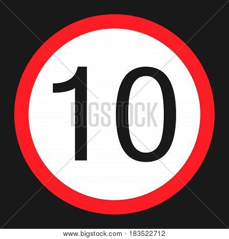 Maximum speed limit 10 flat icon Traffic and road sign vector graphics a solid pattern on a black background eps 10.