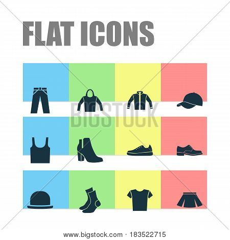 Clothes Icons Set. Collection Of Stylish Apparel, Sneakers, Female Winter Shoes And Other Elements. Also Includes Symbols Such As Apparel, Wear, Footwear.
