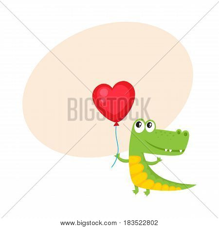 Cute and funny crocodile holding red heart shaped balloon, cartoon vector illustration with space for text. Crocodile holding heart balloon, birthday greeting decoration