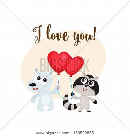 I love you postcard, banner with white bear and raccoon holding red heart shaped balloon, cartoon vector illustration. Raccoon and bear friends with heart balloon, love postcard, greeting card, banner