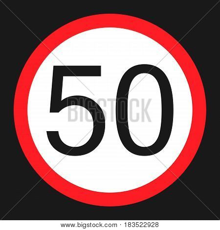 Maximum speed limit 50 flat icon Traffic and road sign vector graphics a solid pattern on a black background eps 10.