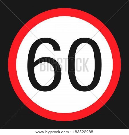 Maximum speed limit 60 flat icon Traffic and road sign vector graphics a solid pattern on a black background eps 10.