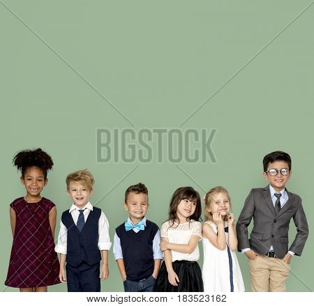 Little Children Dressed Up Smiling