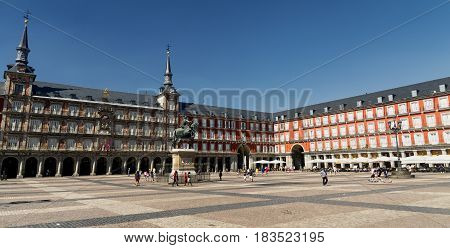 MADRID, SPAIN - JULY 17, 2016: Madrid (Spain): the historic Plaza Mayor in a summer afternonn