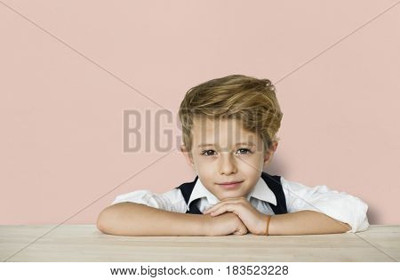 Little Boy Smart Adorable Focused