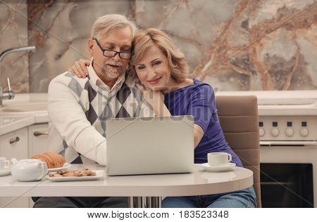 Cute elderly couple sitting in kitchen with laptop