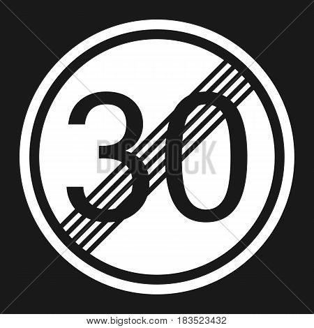 End maximum speed limit 30 sign flat icon Traffic and road sign vector graphics a solid pattern on a black background eps 10