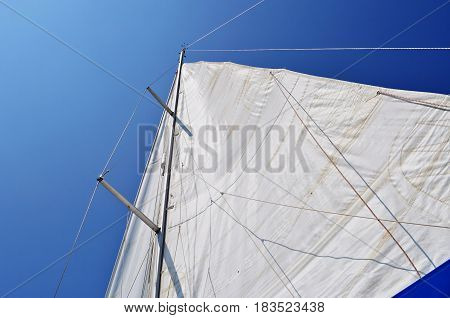 Unfurled mainsail blue sky: Looking up at an unfurled white mainsail with blue sky behind.