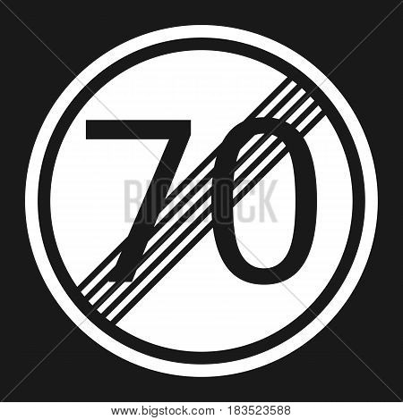 End maximum speed limit 70 sign flat icon Traffic and road sign vector graphics a solid pattern on a black background eps 10