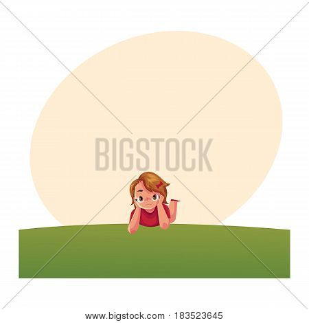 Teenage girl with short brown hair and big eyes lying on green grass under summer sky, colorful cartoon vector with space for text. Girl, kid, child lying on the grass, summer vacation concept