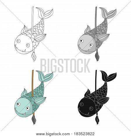 Fish on the spear icon in cartoon style isolated on white background. Stone age symbol vector illustration.