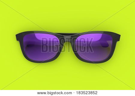 Purple and black sun glasses on vibrant green background. Color plastic sun protective spectacles. Summer holiday and beach concept. 3D illustration of sunglasses